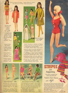 BarbieSears68.jpg (1170×1600).  I loved seeing all of these vintage Barbies and others and all of their stuff! The first three are from Sears Wish Book Christmas 1968: