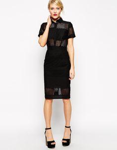 ASOS | ASOS Premium Pencil Shirt Dress in Broderie at ASOS