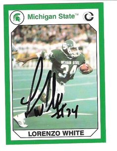 Lorenzo White AUTOGRAPH MICHIGAN STATE SPARTANS FOOTBALL CARD SIGNED 0ae987324