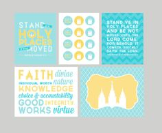 LDS Young Women 2013 Mutual Theme Printable Package. Stand Ye In Holy Places. Blue & Yellow.