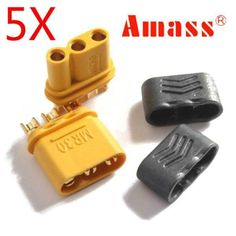 5 Pairs Amass MR30 Connector Plug With Sheath Female & Male Gold Plated For Rc Parts