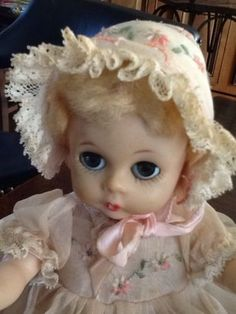 Vintage-Madame-Alexander-Little-Genius-Doll-In-Tagged-Party-Dress-With-Bonnet