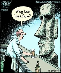 Bizarro - Why the long face? History Cartoon, History Jokes, Art History, Funny Cartoons, Funny Comics, Funny Art, The Funny, Bizarro Comic, Dad Jokes
