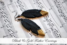 Fimo feather earrings