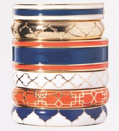 When you need that perfect stack of bracelets... preppy jewelry and bright bangle bracelets from Swell Caroline always fit the bell! Orange and blue with a touch of gold is oh so stunning!