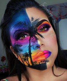 """Summer Sunset Vibes Inspired by this talented girl! LIST OF PRODUCTS: Neon Eye Dust Orange 204 Blue 206 Purple 202 Yellow 205 Pink) palette Cupcakes and Monsters palette Epic Ink Liner Pink/Purple Glitter Lip Suede """"Amethyst"""" . Cute Makeup Looks, Makeup Eye Looks, Crazy Makeup, Pretty Makeup, Awesome Makeup, Makeup Elf, Eye Makeup Art, Colorful Eye Makeup, Makeup Ideas"""