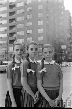 The Dees triplets: Megan Christina, and Katha, photographed in 1956 by Nina Leen for Life Magazine.