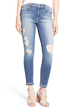 94b77c3ca3f5c0 7 For All Mankind Ankle Skinny Jeans (Windsor Pink Tint) Womens Distressed  Jeans,