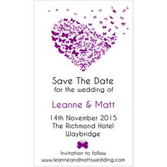 Purple Butterfly Heart Save The Date Magnetic Cards