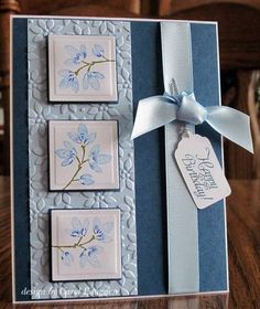 lovely handmade inchie card ... in blues ... luv the soft blues ... three inchies in a column ... lovely ... Stampin' Up! by deanne