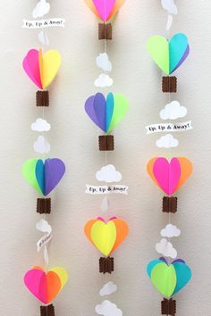 Discover thousands of images about Neon Brights Hot Air Balloons Paper Garland Balloon Crafts Preschool, Kids Crafts, Summer Crafts, Easter Crafts, Diy And Crafts, Craft Projects, Projects To Try, Decoration Creche, Decorations