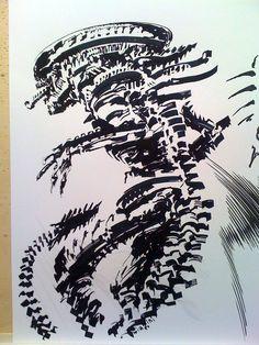 a quick parallel pen ink sketch