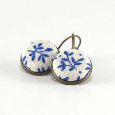 Antique Leverback Earrings Blue Twigs Romantic Fabric Covered Buttons Jewelry by PatchworkMillJewelry