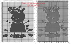 Free filet crochet pattern baby blanket with Peppa Pig jumping 130 x 170 squares