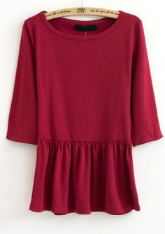 Red Long Sleeve Ruffles Pleated T-Shirt US$21.48