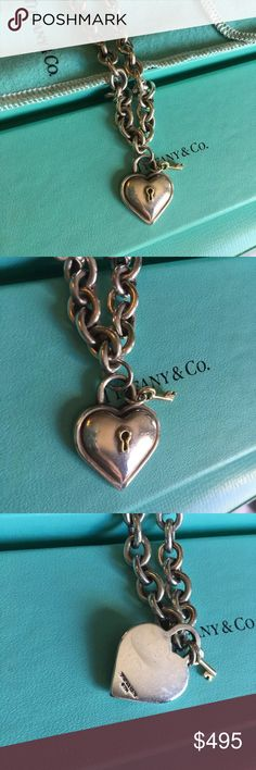 Tiffany & Co Retired Heart Padlock Choker Sterling silver and 18k Gold. Solid classic Retired piece Tiffany & Co. Jewelry Necklaces