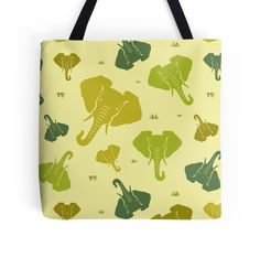 Elephants. Seamless pattern. Green. by floraaplus