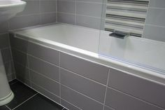 Subway Tile 100x300 Bath Panel, Bathtub, Mosaic Tiles, Bath, Paneling, New Homes, Tiled Bath Panel, House, Bathroom