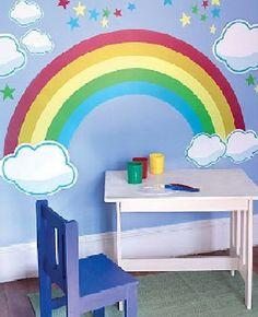 Lovely Top 44 Rainbow Bedroom Decor for Girl Kid's Ideas - Decorate Your Home Rainbow Bedroom, Rainbow Wall, Rainbow Bedding, Rainbow Theme, Bedroom Paint Design, Wall Design, Bedroom Themes, Bedroom Ideas, Girls Bedroom