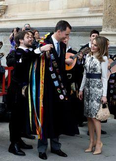 "Queen Letizia of Spain Photos Photos - Prince Felipe of Spain (C) and Princess Letizia of Spain (R) attend ""Miguel de Cervantes"" Award 2012 at Alcala de Henares University on April 23, 2012 in Alcala de Henares, Spain. - Spanish Royals Attend 'Miguel de Cervantes' Awards 2011"