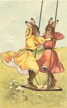 """Rabbits on Swing"" vintage card http://www.zazzle.com/rabbits_on_a_swing_vintage_easter_greeting_card-137773740602611184"