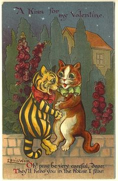 Adorable Louis Wain Cat Couple Court Under Stars, Among Hollyhocks,on Stone Wall Valentine Poem Postcard