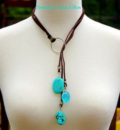 3-strand leather lace lariat necklace