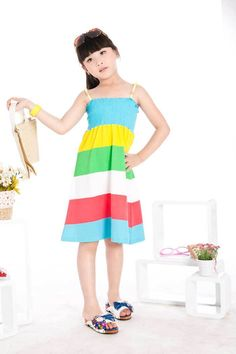Aliexpress.com : Buy Free Shipping Girls Summer Dresses for Kids Wear Striped Colorful Dresses K0386 from Reliable Girls Summer Dresses suppliers on SICIKIDS - Worldwide Free Shipping