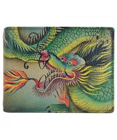 Anuschka Men's Hand Painted Two Fold Coin Pocket Wallet, Hidden Dragon Leather Money Clip Wallet, Leather Wallet, Cow Leather, Vintage Leather, Painting Leather, Clutch Wallet, Hand Painted, Dragon, Accessories