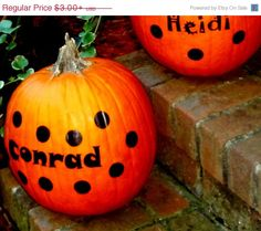 BACK2SCHOOL Sale Personalized Polka Dot  Pumpkin DIY Decal with your name