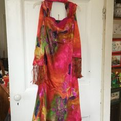 """Stunning silk prom, party dancing dress, 8 Colorful silk dress with silk wrap, and underdress, see pix 4. Chest 21"""" hip 23"""" length from shoulder 45"""" many brilliant colors Juliana Collezione Dresses Prom"""