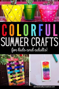 Grab the kids and some paint and get creative with these colorful summer craft ideas for everyone! #crafts #color #summer #domesticallycreative Summer Crafts For Kids, Summer Activities For Kids, Crafts For Kids To Make, Summer Diy, Diy Crafts To Sell, Kids Crafts, Craft Projects For Adults, Diy Craft Projects, Craft Ideas