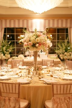 Chair covers& Table linen by #wildflowerlinen Read More: http://www.stylemepretty.com/2015/04/28/elegant-connecticut-waterfront-hotel-wedding/