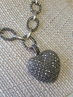 Vintage 925 Silver Black Pave Heart Pendant by ThePurpleDogVintage