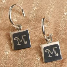 Personalized Monogrammed Sterling Silver Hoop Earrings Square Charms