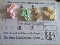 Free Holiday: Snowmen, Gingerbread, Star, and Tree Graphing and Sorting Sheets to use with the marshmallows.  Grades Preschool, Kindergarten, First, Second, and Third.  All you need are the marshmallows.
