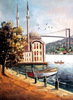 The Ortakoy Mosquee, oil painted on canvas, Istanbul. Boat Painting, Painting & Drawing, Turkey Painting, Bff Drawings, Oil Painting Pictures, Turkish Art, Istanbul Turkey, Islamic Art, Love Art
