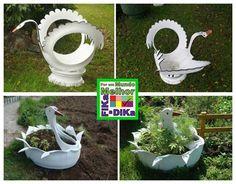 Foto: Cisnes de pneus enfeitam, decoram o seu jardim...  Conheça o blog do Fika a Dika http://beatriz13out.blogspot.com.br/