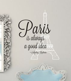 Eiffel Tower Wall Decal -Audrey Hepburn Vinyl Decal - Paris Wall Decal - Audrey Hepburn Wall Art on Etsy, $16.00
