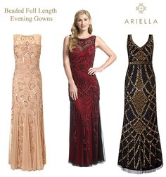Ariella beaded full length dresses sequin maxi gowns in gold, merlot red black and nude. Mother of the Bride evening wedding reception dress