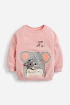 Made from a soft brushed back fabric, this sweatshirt is designed with a soft and fluffy appliqué character and an interactive zip pouch with a baby koala in it. Cute Baby Boy Outfits, Toddler Outfits, Kids Outfits, Baby Koala, Baby Otters, Sweat Shirt, Kids Nightwear, Kids Pjs, Kids Headquarters