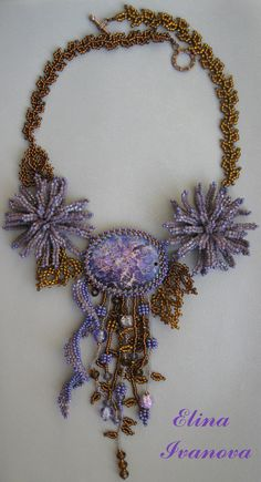 "Beaded Flower Necklace ""Autumn chrysanthemum with jasper"", fashion 2014, exclusive handmade bib necklace, purple, brown, jewelry"