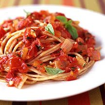 6-pt Pomodoro Sauce with Spaghetti (add white beans, edamame, or chicken for some protein, and some spinach for a veggie!)