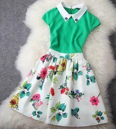 Temperament Slim Flower Print Dress