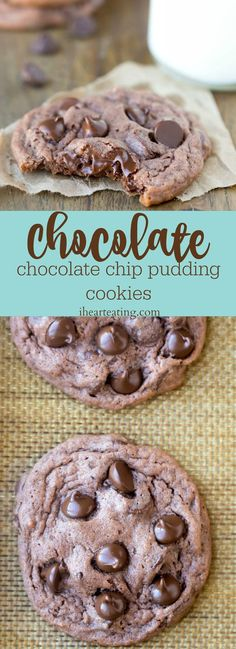 Chocolate Chocolate Chip Pudding Cookie Recipe - soft double chocolate chip cookies.