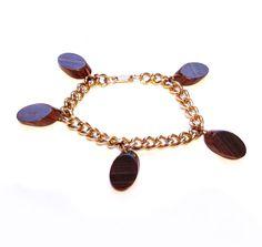 Vintage Wood Charm Bracelet, Gold Chain