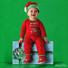 "The best ""My First Christmas"" outfit is comfy! If you're looking for more kids costume ideas for Christmas portraits and parties, click the pic."