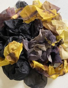 Excited to share this item from my #etsy shop: Hand Dyed Pure Silk Scraps for Nuno Felting and other Fiber Art and Mixed Media Projects - Gold, Yellow, Copper, Chestnut, and Black #09