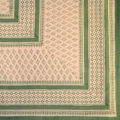 Handblock Printed Oblong Tablecloth in Green Herb Design from ...