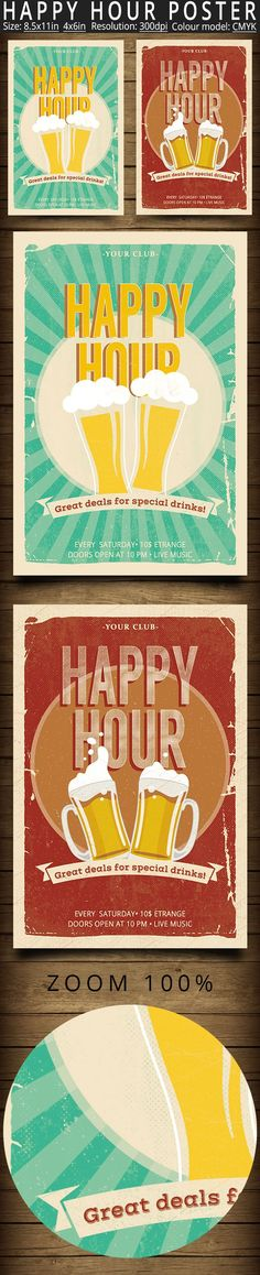 Happy Hour Poster Flyer by oloreon on @creativemarket happy hour, bar, flyer, beer, club, party, vintage, drinks, restaurant, poster, retro, event, cocktail, template, menu, music, festival, summer, indie, food, modern, holiday, bar poster, drink, design, restaurant flyer, oktoberfest, club flyer, happy hour flyer, club poster